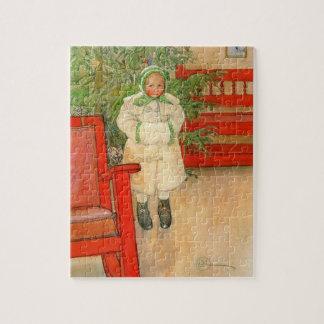 Chica del navidad de Carl Larsson con el manguito Puzzles Con Fotos