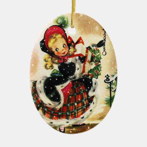 Chica del navidad de la tela escocesa y de la piel ornamento para arbol de navidad