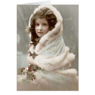 Chica del navidad del invierno del vintage felicitacion