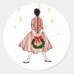 Chica del navidad del vintage 50s etiqueta redonda