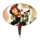 Chica del navidad del vintage decoraciones de tartas