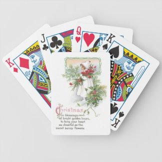 Chica del navidad del vintage cartas de juego