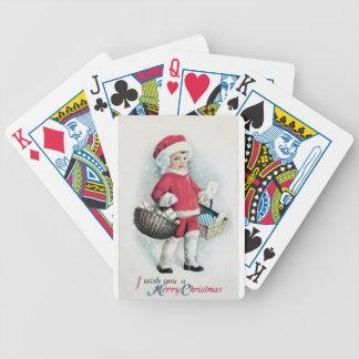 Chica del navidad del vintage baraja de cartas