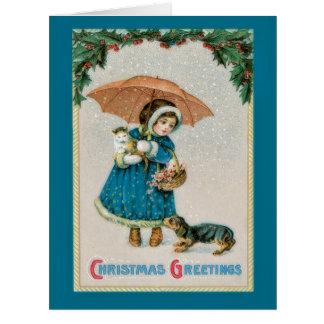 Chica del navidad del vintage con la tarjeta