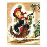 Chica del navidad del vintage plantilla de membrete