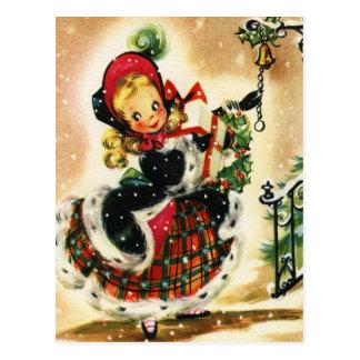Chica del navidad del vintage tarjeta postal