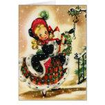 Chica del navidad del vintage tarjetón