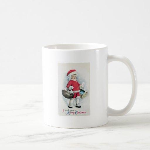 Chica del navidad del vintage taza