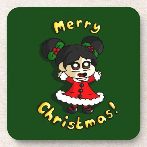 Chica del navidad posavasos