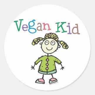 Chica del niño del vegano pegatina redonda