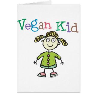 Chica del niño del vegano tarjeta de felicitación
