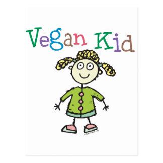 Chica del niño del vegano tarjeta postal