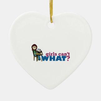 Chica del ordenador - luz adorno de cerámica en forma de corazón