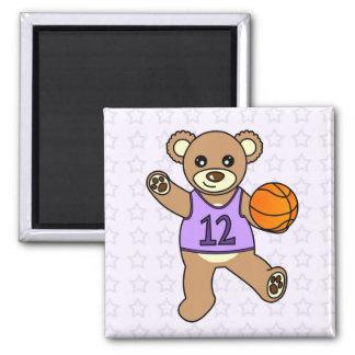 Chica del oso de peluche del baloncesto - púrpura imán cuadrado