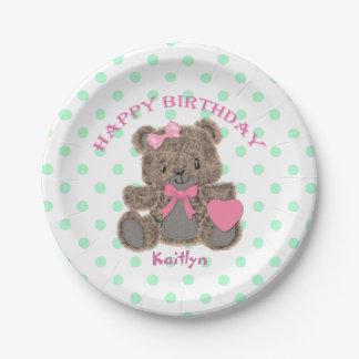 Chica del oso de peluche del cumpleaños plato de papel de 7 pulgadas