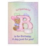 Chica del oso del cumpleaños - personalizar tarjetas
