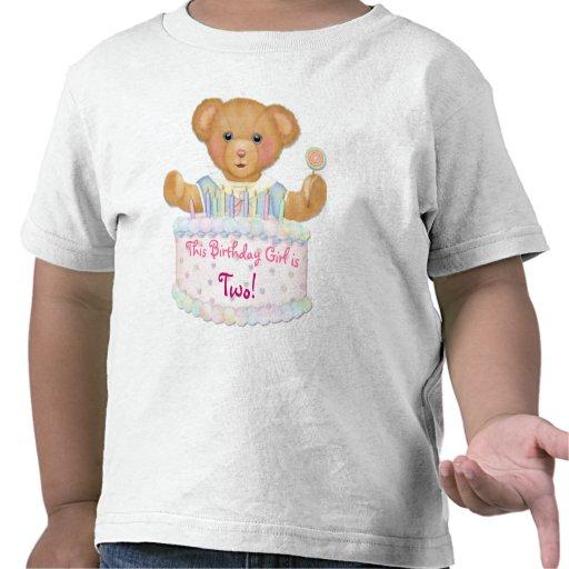 Chica del oso del cumpleaños - segundo cumpleaños camisetas