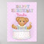 Chica del oso del feliz cumpleaños - personalizar impresiones