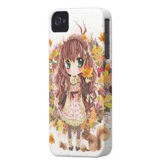 Chica del otoño y squirell lindo funda para iPhone 4 de Case-Mate