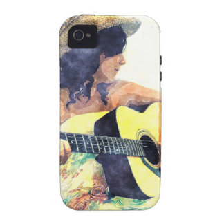 Chica del país con color de agua de la guitarra ac vibe iPhone 4 carcasa
