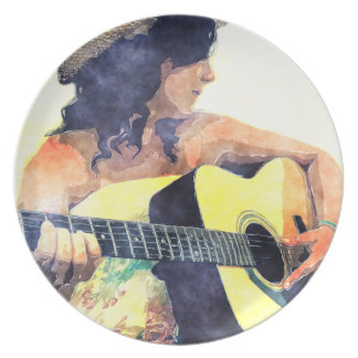 Chica del país con color de agua de la guitarra ac plato para fiesta
