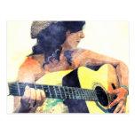 Chica del país con color de agua de la guitarra ac tarjeta postal