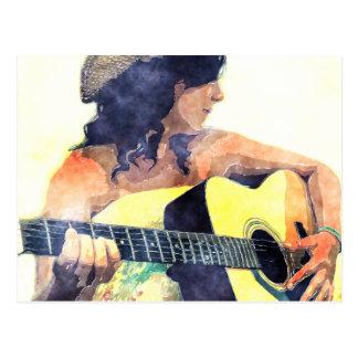 Chica del país con color de agua de la guitarra tarjetas postales