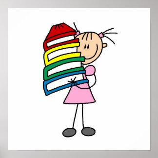 Chica del palillo con los libros póster