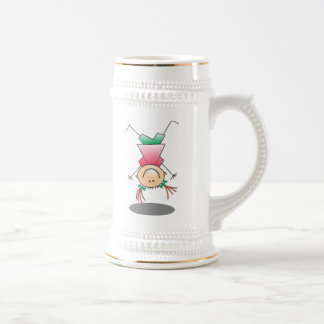 Chica del palillo del dibujo animado taza de café