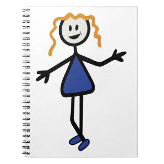 Chica del palillo libros de apuntes con espiral