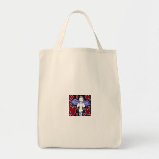 Chica del palo de vampiro en rojo y azul bolsa tela para la compra