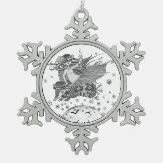 Chica del palo del armadillo del ornamento del adorno de peltre en forma de copo de nieve