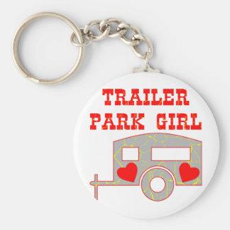 Chica del parque de caravanas llavero personalizado