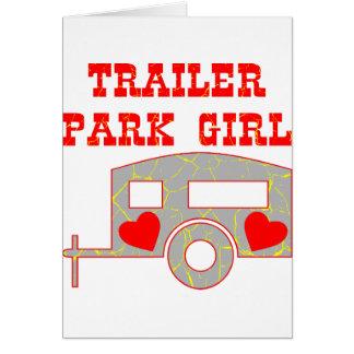 Chica del parque de caravanas tarjeta de felicitación