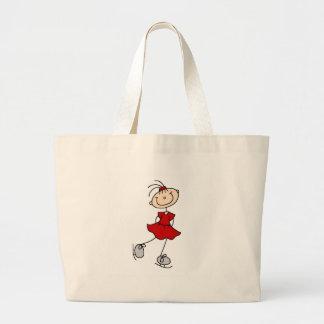 Chica del patinador de hielo en bolso rojo bolsa de mano