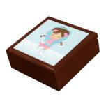 Chica del patinaje de hielo cajas de regalo