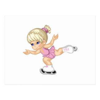 Chica del patinaje de hielo postal