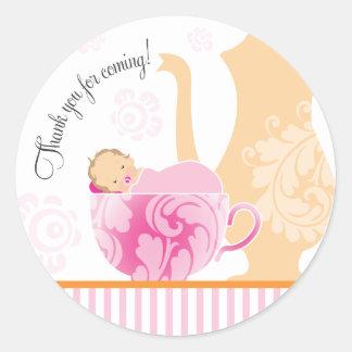 Chica del pegatina el | del favor de fiesta del té
