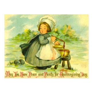 Chica del peregrino tarjetas postales