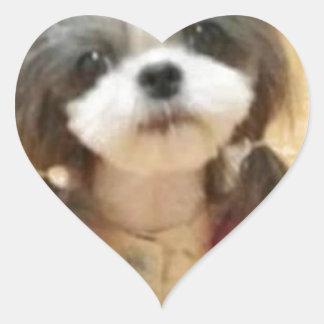Chica del perrito Poe Pegatina De Corazón