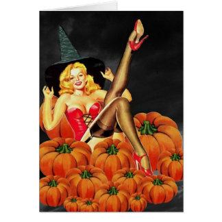 Chica del Pin-Para arriba de Halloween en las cala Tarjeta De Felicitación
