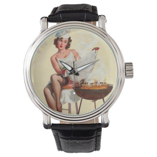 Chica del Pin-Para arriba de la barbacoa Reloj