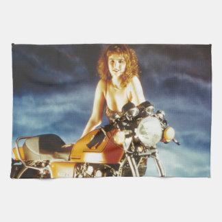 Chica del Pin-para arriba de la motocicleta Toalla De Mano