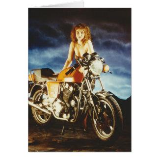Chica del Pin-para arriba de la motocicleta Tarjeta De Felicitación
