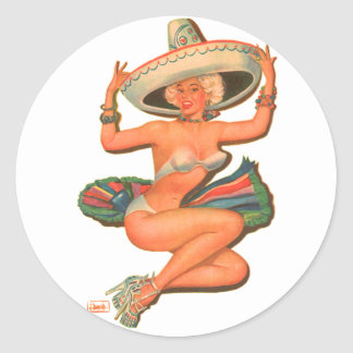 """Chica del Pin-Para arriba de la """"salsa caliente"""" Etiquetas Redondas"""