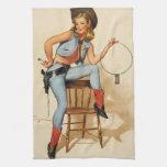 Chica del Pin-para arriba de la vaquera Toallas De Cocina