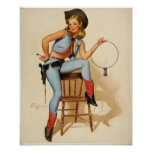 Chica del Pin-para arriba de la vaquera Posters