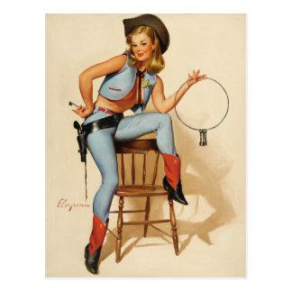 Chica del Pin-para arriba de la vaquera Tarjeta Postal
