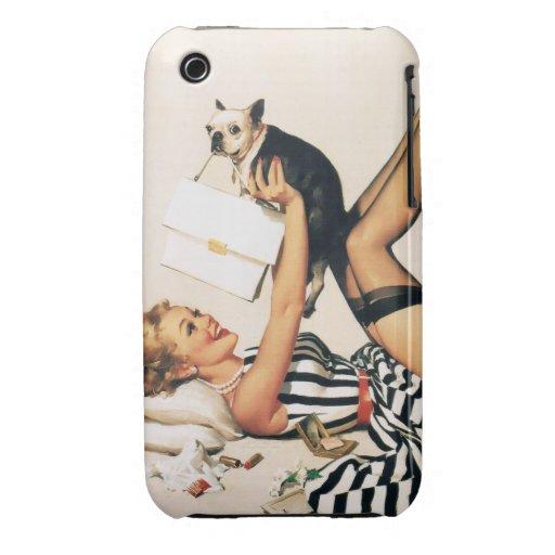 Chica del Pin-para arriba del amante del perrito - iPhone 3 Cárcasa