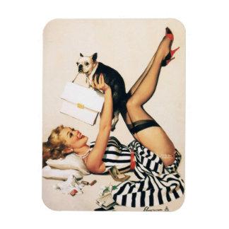 Chica del Pin-para arriba del amante del perrito - Imanes Rectangulares